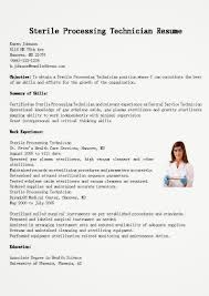 Resume Template Sterile Processing Technician Resume Sample Free