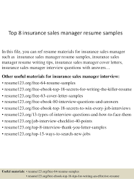 Insurance Manager Resume Top 8 Insurance Sales Manager Resume Samples
