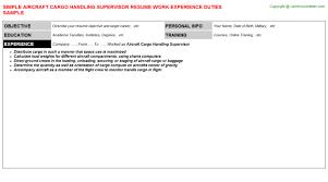 Aircraft Cargo Handling Supervisor Resume Resumes Templates