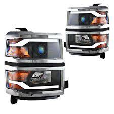 Silverado Projector Headlight Black With LED Daytime Running ...