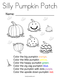 Silly Pumpkin Patch Coloring Page Twisty Noodle