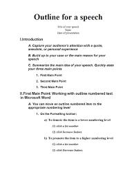 Speech Introduction Outline Speech Outline