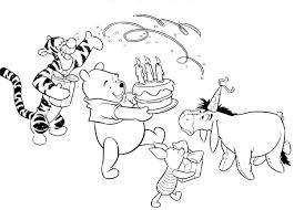 Happy Birthday Color Page Winnie The Pooh Kiddo Shelter Coloring