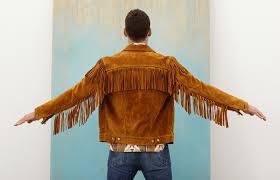 8 fringed suede type ii honey yellow cowhide leather jacket tack slim denim
