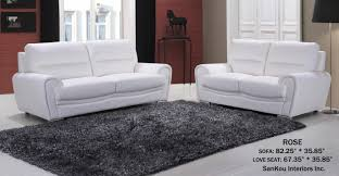 top grain white leather sofa and loveseat rose lightbox moreview