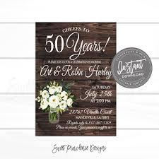 50th Anniversary Party Invitations 50th Anniversary Invitation Anniversary Party Invitation Diy Rustic Anniversary Invite Editable Template Instant Access
