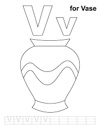 Small Picture V for vase coloring page with handwriting practice Download Free