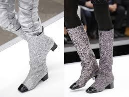 chanel glitter boots. oversized rugzak en shopper chanel fall winter 2017 glitter boots l