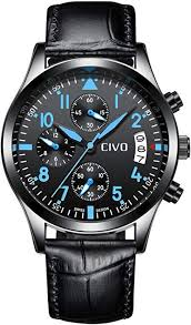 CIVO Mens Black Chronograph Watches Men Teenage Boys ...