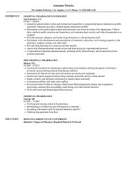 Hospital Pharmacist Resume Samples Velvet Jobs