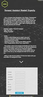 Personal Assistant Job Description Gorgeous The Daily Scam Personal Assistant Fake Check Employment Scam