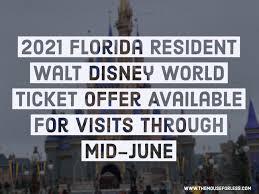 2021 florida resident walt disney world