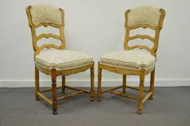 primitive six french country style carved and upholstered ladder back dining chairs