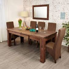 set walnut extending dining table 6 chairs cream fabric akd photo of extending dining table and