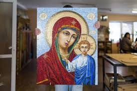 virgin mary stained glass mosaic wall