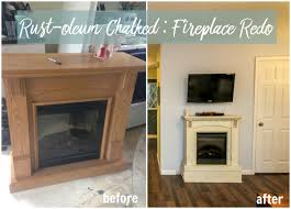 fireplace makeover with rustoleum chalked
