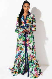 front view when life is good maxi dress in green multi