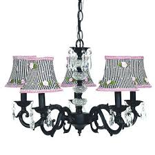 glass turret black five light mini chandelier with black check and pink rosebud chandelier shades