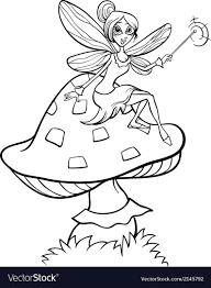 Elf Fairy Fantasy Cartoon Coloring Page Royalty Free Vector