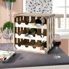 rustic wood crate square bottle floor wine glass rack and holder stake set oaks