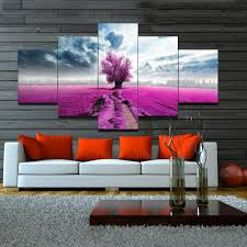 pink lavender flowers and tree on 5 piece canvas wall art trees with 5 panel canvas wall art pink lavender flowers and tree