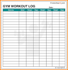 Blank Workout Logs Workout Log Template Running Training Excel Bodybuilding App