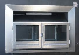 double sided insert with stainless trim and glass doors