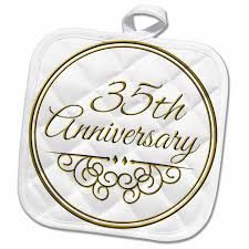 3drose 35th anniversary gift gold text for celebrating wedding anniversaries 35 years married together pot holder 8 by 8 inch walmart
