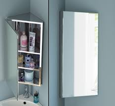White Bathroom Vanity Wall Mounted Corner Bathroom Mirror Cabinet