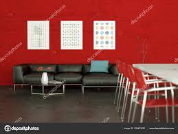 Esstisch Mit Mit Leder Sofa Und Rote Wand Stockfoto Virtua73