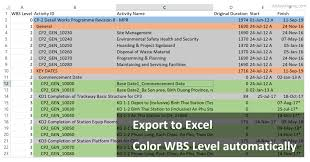 Export Project To Excel Gantt Chart Primavera P6 Export To Excel How To Color Wbs Level