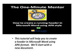 Microsoft Word Apa Header This Tutorial Will Help You To Create A Header In Microsoft