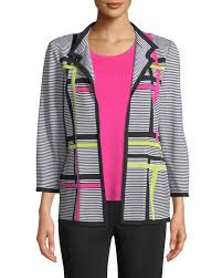 misookplus size striped 3 4 sleeve hook front graphic knit jacket