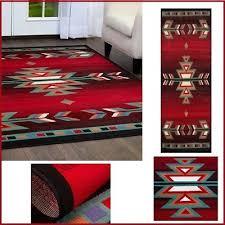 aztec runner rug southwestern red black turquoise green arrow accent floor carpe