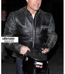 tom cruise distressed black motorcycle leather jacket 160 00