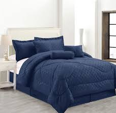 luxury hotel queen size 7 piece embossed solid over sized comforter set bed in a bag navy blue com