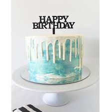Happy Birthday Cake Topper Bold Inscribe Design