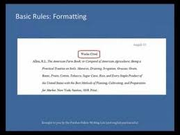 How To List Works Cited Purdue Owl Mla Formatting List Of Works Cited