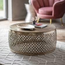 khalasar metal round coffee table in