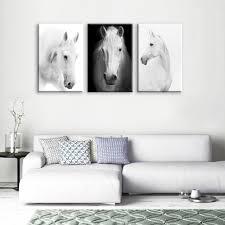 modern art furniture. White Horse Wall Art Canvas Prints Modern Home Decor For Living Room - ASH Furniture