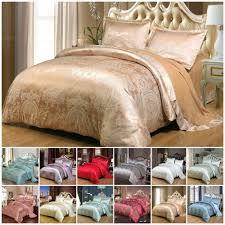 details about luxury jacquard duvet cover 4 piece satin bedding set double king size