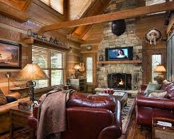 traditional living room log cabin decorating design pictures in