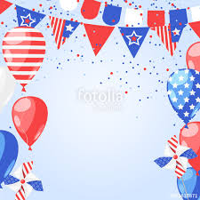 abstract holiday frame vector white background with fireworks flags and air balloons