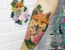тату лиса с цветами на предплечье тату лиса и цветы на руке тату