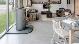 concrete flooring in a living room