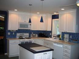 Kitchen White Cabinets Blue Backsplash Pictures Designs Houzz