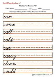 cursive word practice cursive words aussie childcare network