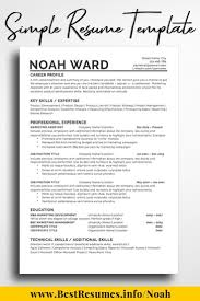 Resume Template Noah Ward One Page Resume Templates One Page