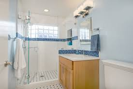 Blue and White Bathroom with Glass Block traditional-bathroom