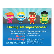 superheroes birthday party invitations cute colourful superhero birthday party invitation zazzle com